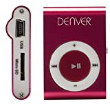 Denver MPS-110P MP3-Player mit MicroSD-Karteneinschub, Befestigungsclip pink