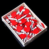 50 Pcs Clips en Bois Mini Cœur Rouge Mignon Pinces à Linge Rouge & Blanc