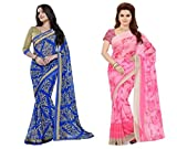 Kavya Fashionable Women's Faux Georgette Multicoloured With Blouse Piece Saree(Pack Of 2)