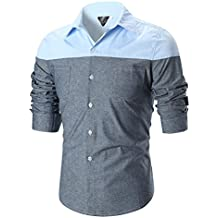 Alluing Breathable Personality Men's Casual Slim Long Sleeve Patchwork Shirt Top Blouse