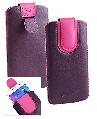 Emartbuy® Lila/Hot Rosa PU Leder Slide in Hülle Tasche Sleeve Halter (Größe LM2) Mit Zuglasche Mechanismus Geeignet Für Slok C2 Dual SIM Smartphone