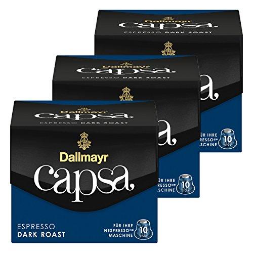 Dallmayr Capsa Espresso Dark Roast, Nespresso Kompatibel Kapsel, Kaffeekapsel, Espressokapsel, Röstkaffee, Kaffee, 30 Kapseln -