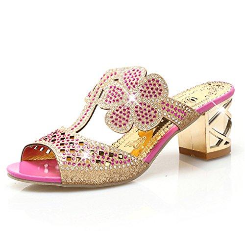Frauen Mode High Heels Slipper Sexy Peep Toe Aushöhlen Kristalle Party Schuhe Frau Sommer Slip Auf Strand Flip-Flops Pink 9