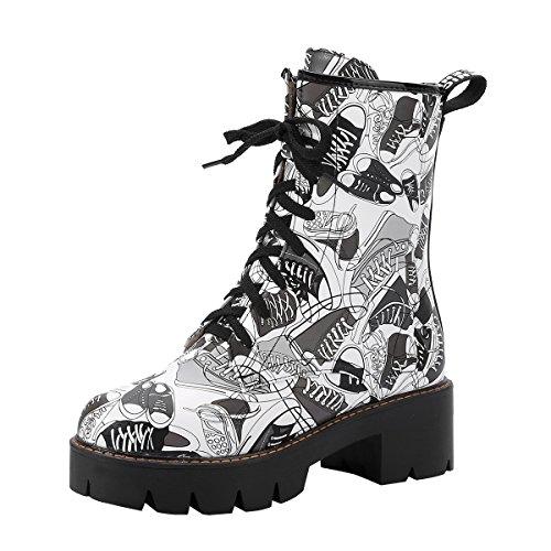 YE Damen Blockabsatz Ankle Boots Plateau Stiefeletten mit Schnürung und Blumenmuster 5cm Absatz...