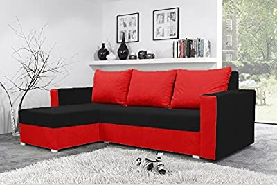 Mojito Corner Sofa Bed with Underneath Storage in Black and Red by Sunny House