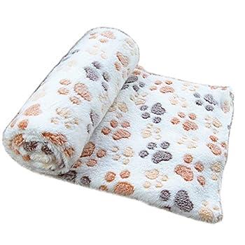 Befaith Doux chaud animal molleton couverture lit mat couverture coussin chien chiot animal Beige 80x60cm