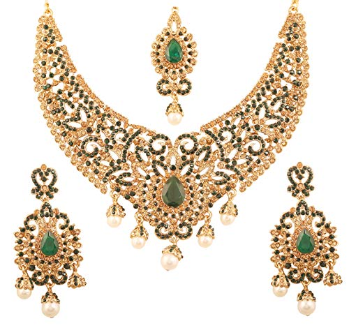 Touchstone New Indian Bollywood Desire Traditional Filigree Faux Green Emerald Color Exclusive Grand Bridal Jewelry Necklace Set In Antique Gold Tone for Women - Faux Antique