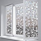 AAPLUS- 45 x 200CM 3D Film vitre adhésif Autocollant fenêtre pour maison porte verre Stickers Électrostatique Sans Colle en PVC Anti regard Translucide & Occultant avec couleur arc-en-ciel