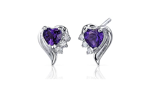 5a3207261 Amethyst Earrings Sterling Silver Heart Shape CZ Accent: Amazon.co.uk:  Jewellery
