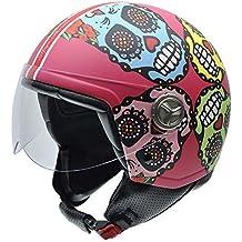 NZI 050313G825 Zeta Tulum by Maya Hansen Casco de Moto, Fondo Rosa y Calaveras Mexicanas