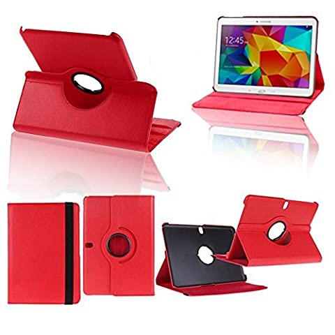VCOMP® Samsung Galaxy Tab Pro 10.1 SM-T520: Housse avec support Et Rotation 360° en cuir PU - ROUGE