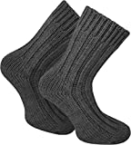 normani 2 Paar Sehr dicke flauschige Alpaka Socken Wintersocken Farbe Anthrazit Größe 35/38