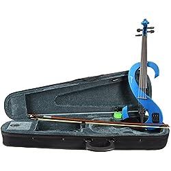 Rocket VNE44BL - Set de violín eléctrico con accesorios, color azul metálico
