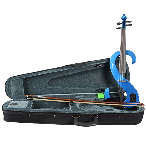 Rocket Music VNE44BL Electric Violine Komplettset metallicblau
