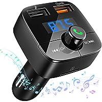 [Carga Rápida 3.0] VicTsing Reproductor MP3 Mechero Coche Transmisor FM Bluetooth(V4.2) Coche Manos Libres Adaptador de Radio Dual USB QC3.0 Soporte de Tarjeta TF+U Disk,Tablet,iPhone,Negro