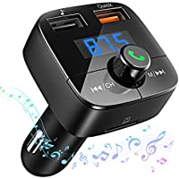 [Carga Rápida 3.0] VicTsing Reproductor MP3 Mechero Coche Transmisor FM Bluetooth(V4.2) Coche Manos Libres Adaptador de Radio Dual USB QC3.0 Soporte de Tarjeta TF+U Disk,Tablet,iPhone,Samsung,Negro