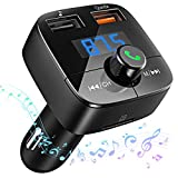 Victsing Reproductor Mp3 Mechero Coche Transmisor FM Bluetooth (V4,2) Dual USB Qc3.0 Soporte De Tarjeta TF+U Disk, Tablet, iPhone, Negro