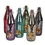 albena shop 73-114 Zuja Windlicht Flasche Gartenlaterne 28cm (6er Pack bunt)