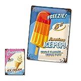 Blechschild 30x40 cm + Kühlschrankmagnet Magnet Kühlschrank American Diner Retro Vintage Nostalgie Bar 50s USA America Deko Schild Fun Sprüche GESCHENK SET *Ice Cream*