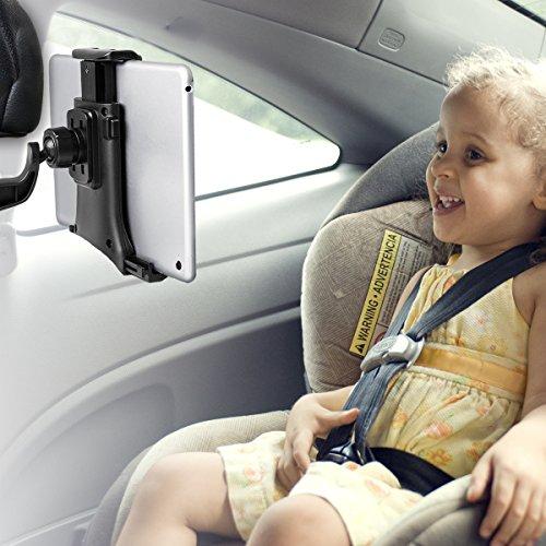 Tablet Halterung, iPad Kopfstützenhalterung 360° Grad einstellbare rotierende Autositz-Kopfstützenhalterung für iPad, Samsung 7' bis 10' Tablets - Schwarz