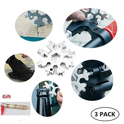 18-in-1 in acciaio inox Snowflake Multi-Tool, Outdoor portatile Snowboarding Keychain Cacciavite Bottle Opener Incredibile strumento, ideale per gli appassionati di sport all'aria aperta militari (3)