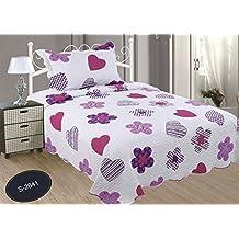 ForenTex- Colcha Boutí reversible, (S-2641), cama 90 y 105 cm, 190 x 260 cm, +1 cojín, Estampada cosida, corazones fucsia, mandalas rosa, colcha barata, set de cama, ropa de cama. Por cada 2 colchas o mantas paga solo un envío (o colcha y manta), descuento equivalente antes de finalizar la compra.