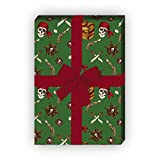 Cooles Seeräuber Geschenkpapier Set (4 Bogen)/Dekorpapier mit Totenkopf, Säbel und Schatzkiste, grün, für tolle Geschenkverpackung und Überraschungen basteln 32 x 48cm