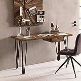 FineBuy Schreibtisch HAORA braun 130 x 60 x 76 cm Massiv Holz Laptoptisch Sheesham Natur | Landhaus-Stil Arbeitstisch mit Ablage | Bürotisch PC-Tisch