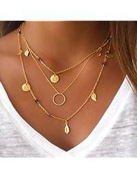 09c6dd9009a7 Lumanuby 1x Multicapa Collar de Borlas Colgante Collar Mujer Collar Mujer  Oro Collar Cadena Ajustable Joyería