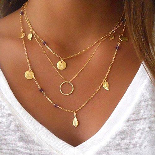 Fansi 1x Halskette für Frauen, Handgefertigt Halskette Quaste Anhänger Multilayer Kreis Anhänger Halskette Kette Fashion Jewelry Weihnachten Love Geschenke