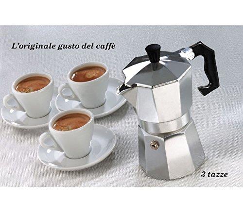 MEDIA WAVE store Caffettiera moka 3 tazze classica WELKHOME caffè espresso fatto in casa manico plastica