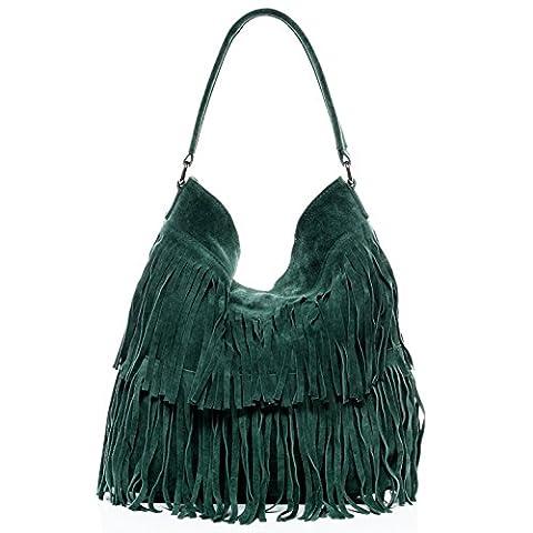 BACCINI Beuteltasche SAMIRA - Schultertasche - Hobo Bag mit Fransen - echt Wildleder grün