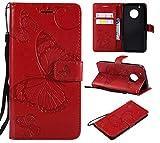 BoxTii® Moto G5 Plus Lederhülle, Kratzfeste Schutzhülle [mit Frei Panzerglas Displayschutzfolie] Karte Halter Hülle Etui für Moto G5 Plus (#6 Rot)