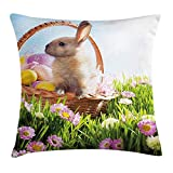Easter Throw Pillow Cushion Cover, Basket with Eggs and a Cute Easter Bunny Rabbit in The Grass with Pink Flowers Field, Decorative Square Accent Pillow Case, 18 X 18 inches, Multicolor