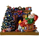 WeRChristmas - Figura decorativa navideña (29 cm, luces de fibra óptica), diseño de Papá Noel durmiendo junto a la chimenea