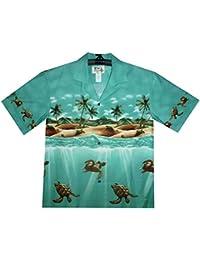KY's| Chemise Hawaïenne D'Origine | Pour Hommes | S - 8XL | Manche Courte | Poche Avant | Hawaiian-Imprimer | tortues | Vert