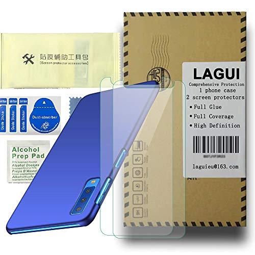 LAGUI Hülle für Samsung Galaxy A7 2018 Ultra Dünn Schutzhülle mit 2 X Panzerglas Ultra Moc