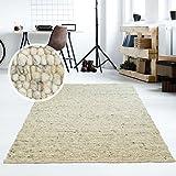 Taracarpet Moderner Handweb Teppich Alpina handgewebt aus Schurwolle für Wohnzimmer, Esszimmer, Schlafzimmer und die Küche geeignet (200 x 200 cm quadratisch, 63 Grau Beige meliert)