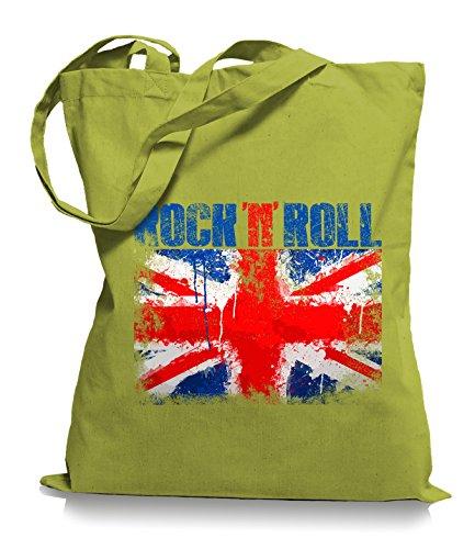 Ma2ca® Rock n Roll - Jutebeutel Stoffbeutel Tragetasche / Bag WM101 Kiwi
