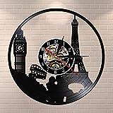 Orologio di Parigi Londra tema di viaggio disco in vinile orologio da parete torre big ben torre viaggio unico punto di riferimento arte della parete orologio retrò
