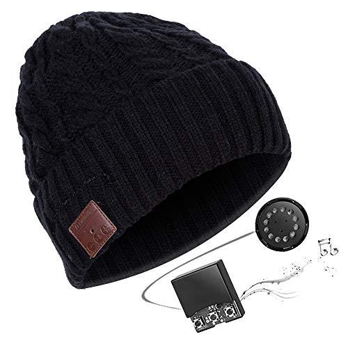 HK Bluetooth Beanie Mütze Waschbare Freizeit Bluetooth Baggy Hats Kopfhörer mit akustischem Stereolautsprecher und Freisprecher-Telefonbeantwortung und bis zu 8 Stunden Wiedergabezeit,Black