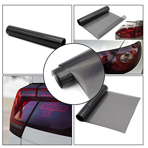 kefflum Auto Scheinwerfer Folie Tönungsfolie Aufkleber Rückleuchten Blinker Nebelscheinwerfer Aufkleber Hellschwarz (200 * 30/Hellschwarz)