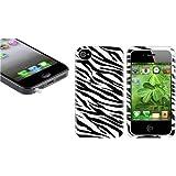 Weiß Headset Stöpsel+Schwarz+Weiß ZEBRA Tier Muster Tasche Für IPHONE 4 4S