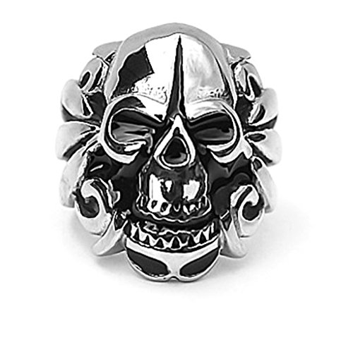mens-stainless-steel-finger-rings-gothic-skull-bone-biker-silver-black-23cm-size-x-1-2