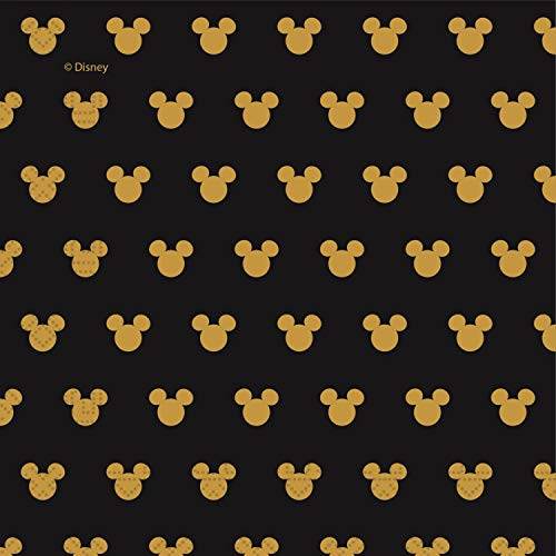 Procos 90702 Mouse Servietten Disney Mickey Gold aus Pappe, 20 Stück, schwarz