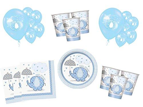 54 Teile Baby Shower Deko Set Blauer Elefant 16 Personen