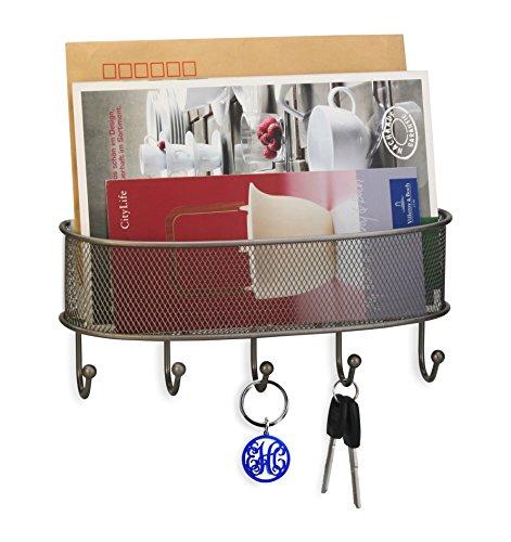 Artestia Wandhalterung Metall Mesh Mail Briefhalter, Schlüssel Rack Organizer für Diele, Küche, Garage champagnerfarben (Rack Schlüssel Wandhalterung Mail Und)