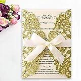 JOFANZA Glitter laser cut inviti di nozze carte con 50x oro pizzo flora vuoto stampabile e buste per fidanzamento Quinceanera compleanno nuziale doccia baby shower festa di laurea
