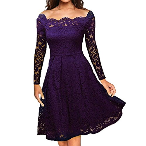 Frühjahr Womens Cap Sleeve T-shirts (OverDose Damen Frauen Vintage Schulterfrei Spitze Formale Rockabilly Abend Party Kleid Langarm Kleider (A-Violett,EU-46/CN-L ))