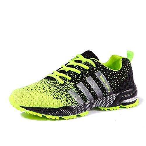 Pattini di sport all'aria aperta di modo estate ed autunno scarpe da tennis in tessuto di mesh per escursionismo corsa arrampicata traspirante e antiscivolo , 8702 fluorescent green , 44